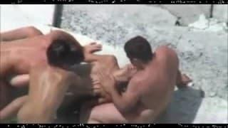 Amateurpaare ficken auf Strand - Voyeur