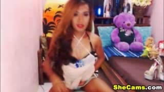Heiße ssiatische Shemale wichst vor der Webcam
