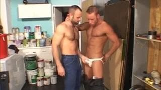 Muskulöse haariger Männer haben Sex